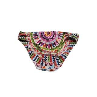 Bar Iii Pink Multi Cartwheels Printed Reversible Cutout Bikini Bottom S