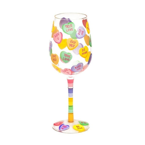 Candy Hearts Wine Glass
