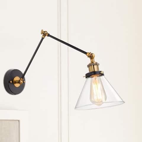 "Modern Farmhouse Swing Arm Lights Plug-in Adjustable Glass Wall Sconce - 20"" x 7.25 ""x 14"""