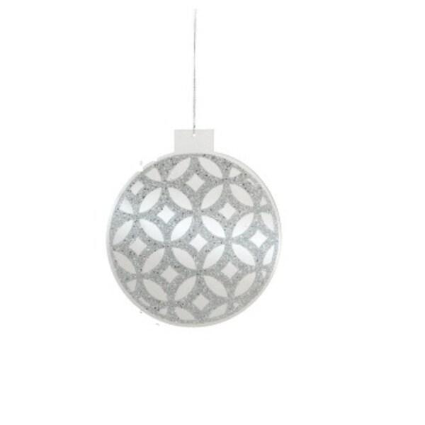 """8"""" Decorative Silver Glitter Mirror Christmas Ball Ornament"""