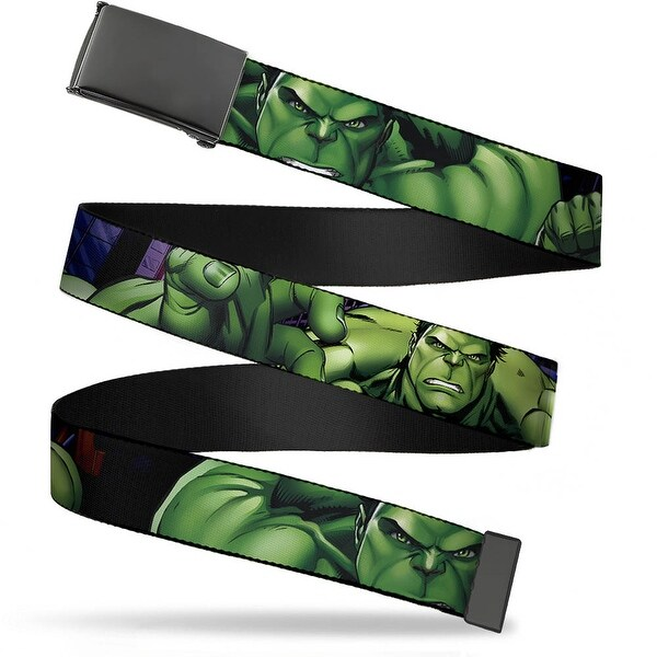 Marvel Avengers Blank Black Buckle Marvel Avengers Hulk Close Up Web Belt