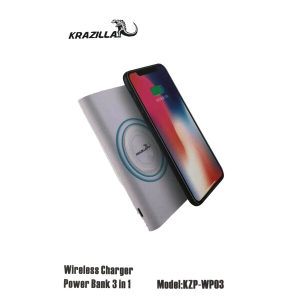 NEW - KRAZILLA KZP-WP03 Wireless Charger Power Bank 2A 5W 5V -Gray