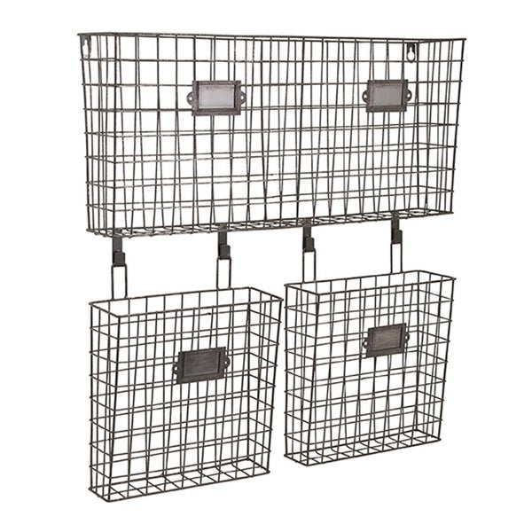 "23.5"" Modern Argenio Wire-Framed Hanging Basket Wall Organizer Trio - black"