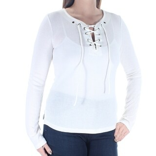Womens Ivory Long Sleeve Jewel Neck Top Size L