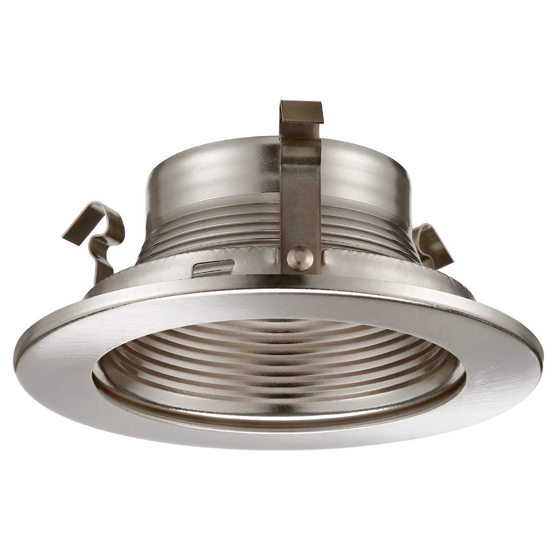 Shop Torchstar 4 Inch Recessed Can Light Trim Satin Nickel Metal Step Baffle Overstock 23109138