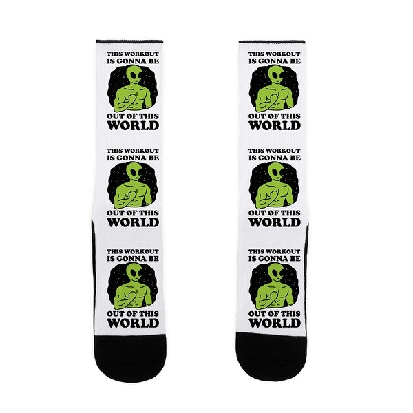 This Workout Is Gonna Be Out Of This World US Size 7-13 Socks by LookHUMAN
