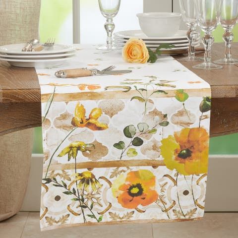 Block Print Table Runner With Floral Design
