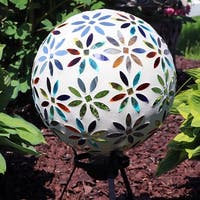 Sunnydaze Multi-Colored Glass Mosaic Flowers Outdoor Gazing Ball Globe - 10-Inch