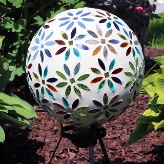 Sunnydaze Multi-Colored Glass Mosaic Flowers Outdoor Gazing Ball Globe - 10-Inch