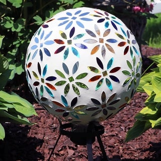 Link to Sunnydaze Multi-Colored Mosaic Flowers Gazing Globe - 10-Inch - Set of 2 - Set of 2 Similar Items in Outdoor Decor