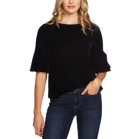 Cece Rich Black Womens Size Large L Flutter Sleeve Velvet Blouse
