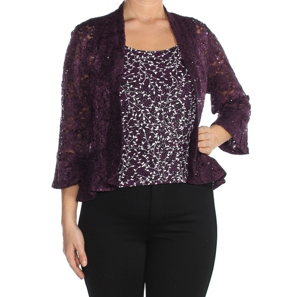 R&M RICHARDS Womens Purple Sequin Lace Party Jacket Size: 14