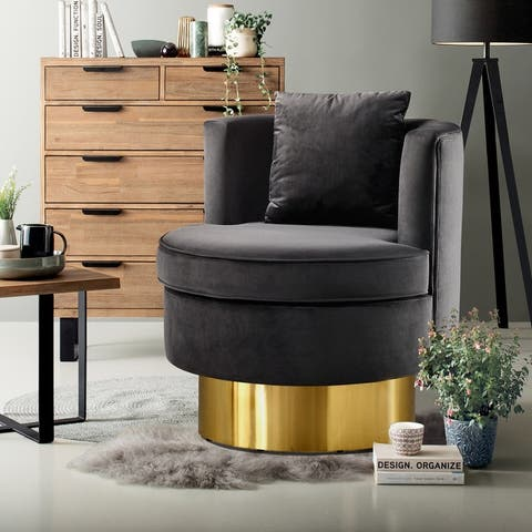 Ovios Velvet Golden Base Circle Swivel Arm Chair