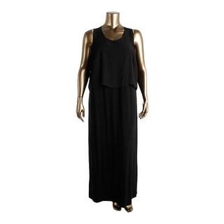 Vince Camuto Womens Plus Jersey Contrast Trim Maxi Dress