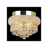 "Worldwide Lighting W33011G8 Empire 3-Light 8"" Flush Mount Ceiling Fixture in Gold with Clear Crystals - n/a"