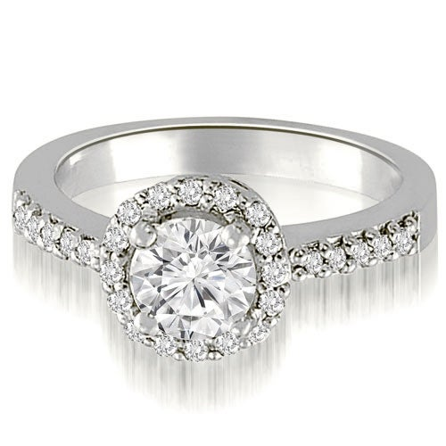 1.00 cttw. 14K White Gold Round Cut Diamond Halo Engagement Ring