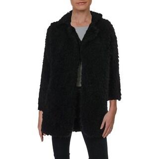 Kivenst Womens Dress Coat Faux Fur Outerwear - Black - M