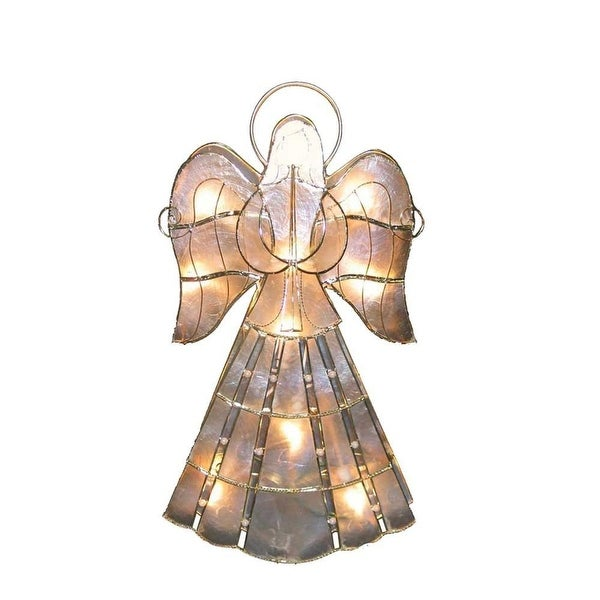 """15.5"""" Lighted Capiz Shell Angel Decorative Christmas Table Top Decoration - CLEAR"""