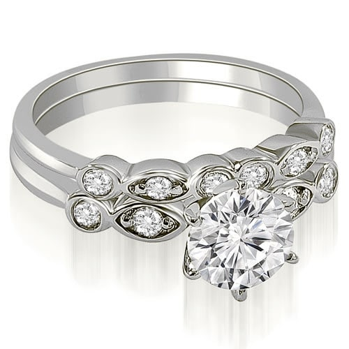 0.82 cttw. 14K White Gold Vintage Round Cut Diamond Bridal Set