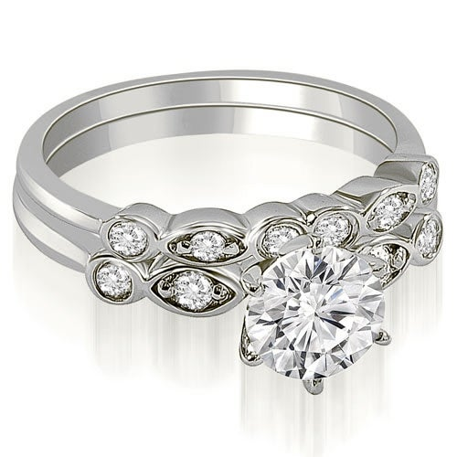 1.32 cttw. 14K White Gold Vintage Round Cut Diamond Bridal Set