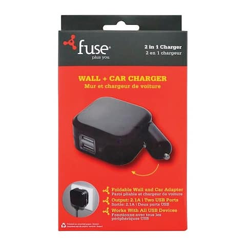 Fonegear 7755 Fuse USB Car and Wall Charger, Black, 2.1 amps