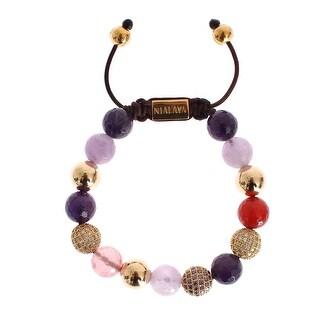 Nialaya CZ Amethyst Sapphire Quartz Jade Gold 925 Bracelet