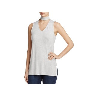 Cupio Womens Choker Top Heathered V-Neck