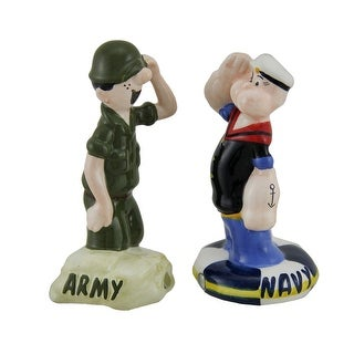 Popeye and Beetle Bailey Army Navy Salute Salt and Pepper Shakers