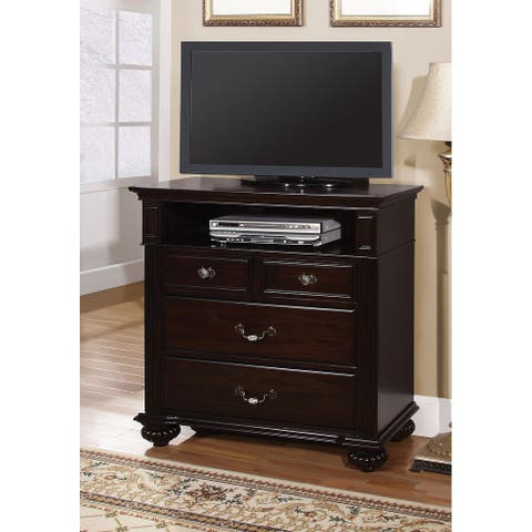 Furniture of America Vame Transitional Walnut Solid Wood Media Chest