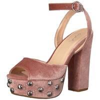 Qupid Women's Chunky Studded Platform Heeled Sandal