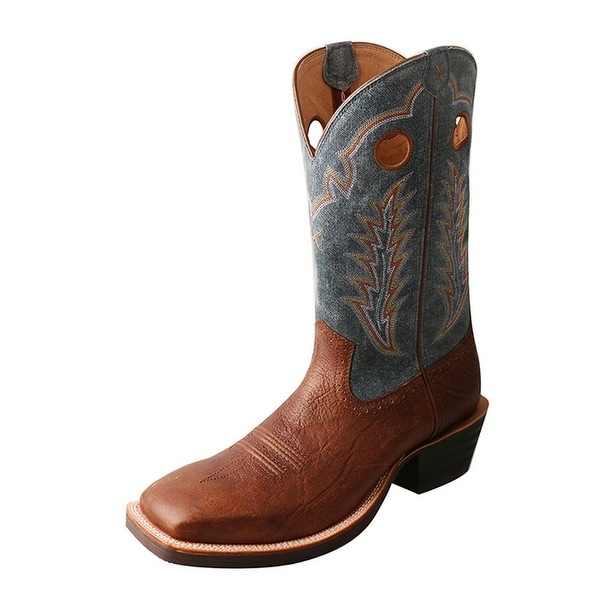 Twisted X Western Boots Mens Ruff Stock Silver Buckle Brown