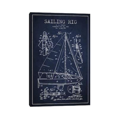 "iCanvas ""Sailboat Navy Blue Patent Blueprint"" by Aged Pixel Canvas Print"