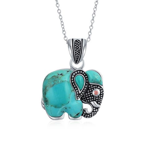 Indian Elephant Lapis Rhodolite Jade Pendant Sterling Silver Necklace