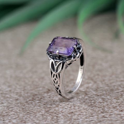 Amethyst,Citrine Sterling Silver Octagon Filigree Ring by Orchid Jewelry