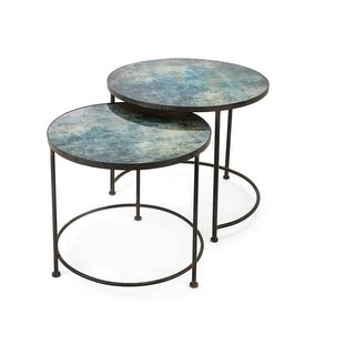 Set of 2 Teal Blue Paxton Metal and Printed Glass Decorative Nesting Tables 33""
