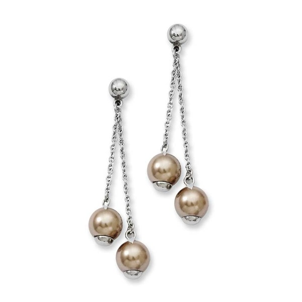 Stainless Steel Champagne Beads Post Dangle Earrings