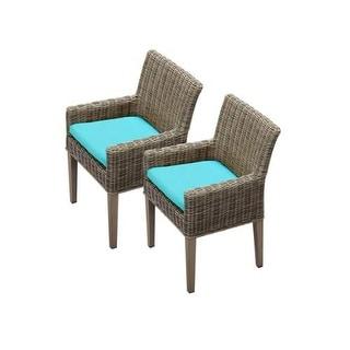 "Miseno MPF-TKC098BDCC Nantucket 2-Piece 35"" Tall Aluminum Framed Outdoor Dining Arm Chair Set"