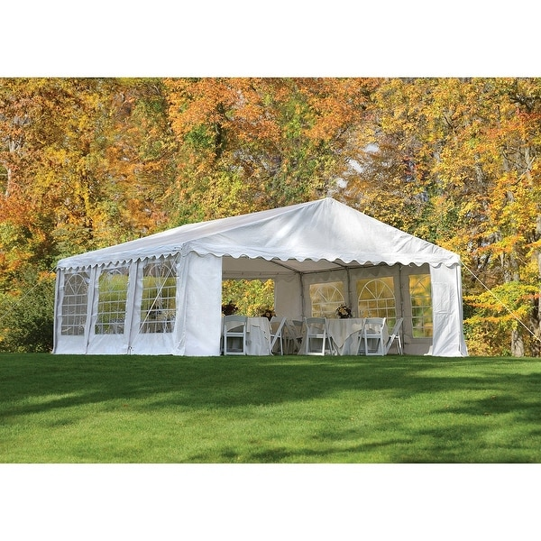 ShelterLogic 8-leg Galvanized Steel Frame White Canopy Party Tent (20u0026#x27;  sc 1 st  Overstock.com & ShelterLogic 8-leg Galvanized Steel Frame White Canopy Party Tent ...
