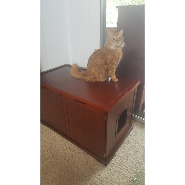 Merry Products Walnut Cat Hidden Litter Box Furniture Bench Free Shipping Today 6531664