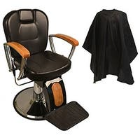 LCL Beauty Reclining Hydraulic Barber Chair with Wood Grain Accent