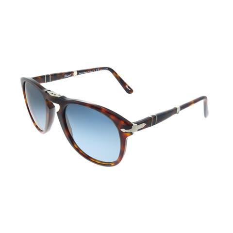 Persol Folding PO 714 24/S3 54mm Unisex Havana Frame Crystal Blue Gradient Polarized Lens Sunglasses