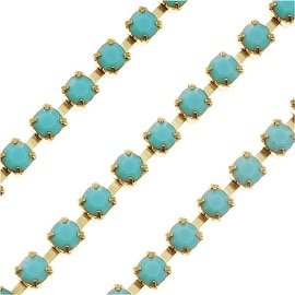 Czech Crystal Brass Rhinestone Cup Chain 18PP Turquoise (By The Foot)