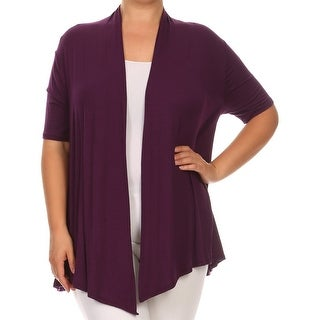 Women Plus Size Short Sleeve Jacket Casual Cover Up Plum