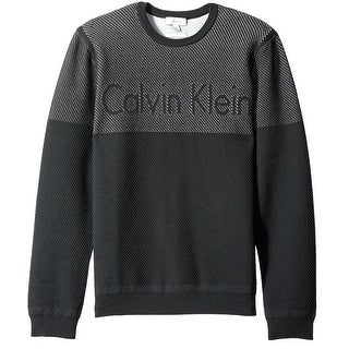Calvin Klein NEW Black Men Large L Slim Fit Colorblock Crewneck Sweater