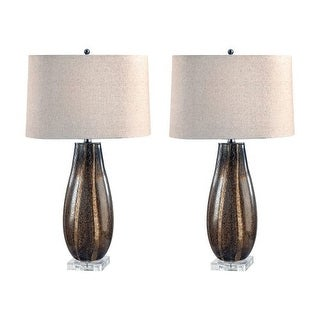 """Lamp Works 215/S2 Glass 1 Light 28"""" Tall Table Lamp with Hardback Linen Shade - Set of 2 - SAND"""