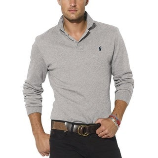 Polo Ralph Lauren Long Sleeve Interlock Polo Shirt Grey Heather Medium M