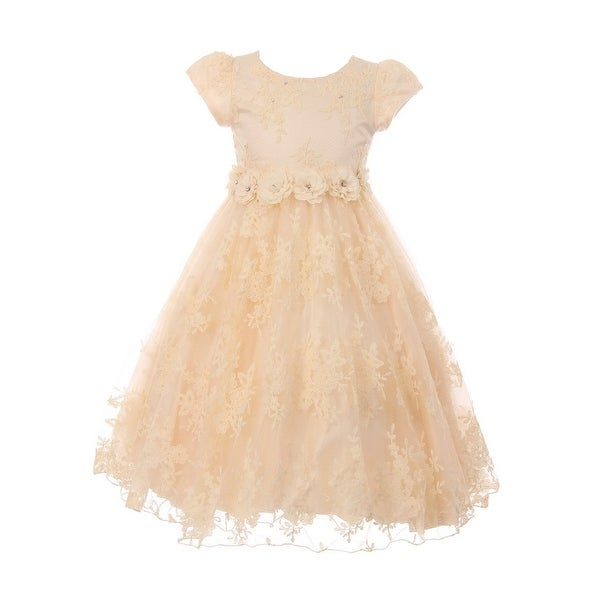 Shop Little Girls Champagne French Chantilly Lace T-Length Flower Girl Dress  - Free Shipping Today - Overstock.com - 23082945 2f5e3cbb2be5