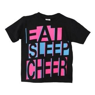 """Little Girls Black Neon Pink """"Eat Cheer Sleep"""" Print Cotton T-Shirt"""
