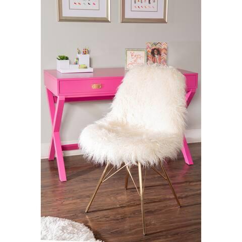 Rowan Faux Fur Chair with Gold Metal Base