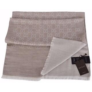 "Gucci Women's 165904 Sand Beige Wool Silk GG Guccissima Scarf - 70"" x 18"""